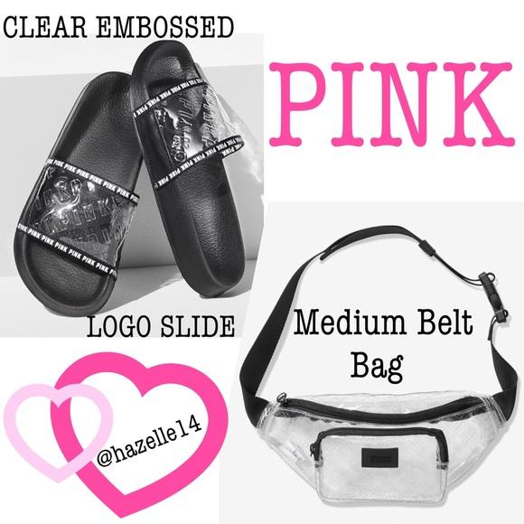 Clear Embossed Logo Slide Large Victoria Secret Pink New